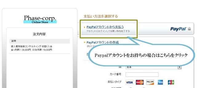 Paypalにログインして支払を完了する